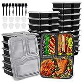 Jovego 24 pcs Meal Prep Boxen, 3-Fach Meal Prep Container mit Deckel, Wiederverwendbar Bento Box Set + 8 Saucenbecher und 8 Löffel, Mikrowelle, Spülmaschine & Gefrierschrank Safe, BPA frei (1L)
