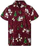 Funky Camisa Hawaiana Navidad, Christmas Buddys, Red, XL