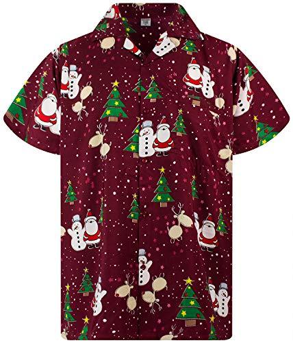 Funky Hawaiian Shirt, Shortsleeve, X-Mas, Christmas Buddies, Red, L