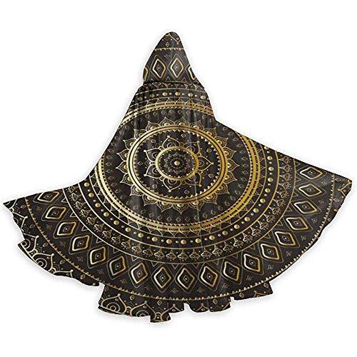 Rexing Capa para Adultos Capa Dorada Mandala Negra Capa étnica Oriental con Capucha Capa para la Fiesta de Navidad de Halloween Disfraces de Cosplay Capas de Brujas para Hombres Mujeres
