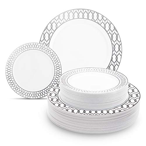 """60 Pieces Disposable Plastic Plates Set, Fancy Premium Plates for Parties with Unique Real China Design, Dinner Plates Set – 30x10.25"""" Dinner and 30x7.5"""" Salad Hard Plates Combo (Silver Lining)"""