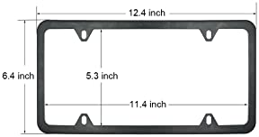 Indeed BUY Newest 2 Pcs 4 Holes Stainless Steel Black License Plate Frame,Car Licenses Plate Covers Holders Frames fo...