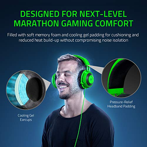 Razer Kraken Tournament Edition THX 7.1 Surround Sound Gaming Headset: Aluminum Frame - Retractable Noise Canc   elling Mic - USB DAC Included - For PC, PS4, Nintendo Switch - Green