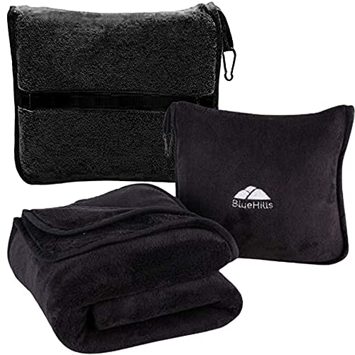 BlueHills Premium Soft Travel Blanket Pillow Airplane Blanket Packed in Soft Bag Pillowcase with Hand Luggage Belt and Backpack Clip, Compact Pack Large Blanket for Any Travel (Black T008)