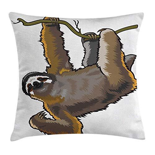 Animal Decor Throw Pillow Cushion Cover Cartoon Like Sloth Bear Tropic Wild Cute Lazy Sleepy Creature Australian Theme Art, Decorative Square Accent Pillow Case Grey Kissenbezüge 16x16Inch(40cmx40cm)