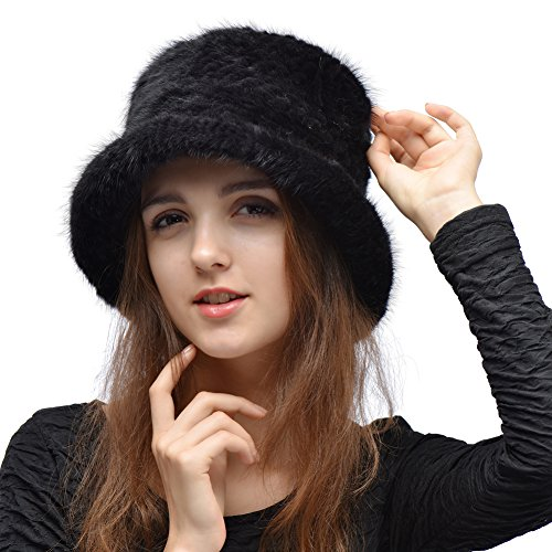 Real Mink Fur Hat - Women's Winter Knitted Bucket Hats With Flower Pin (Black)