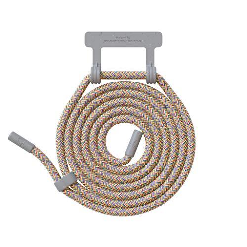 Woodcessories - Wechsel Kordel aus Oeko-TEX Baumwolle kompatibel Change Hülles - Nachhaltige Ersatz Handykette (Regenbogen/Fassung Grau)
