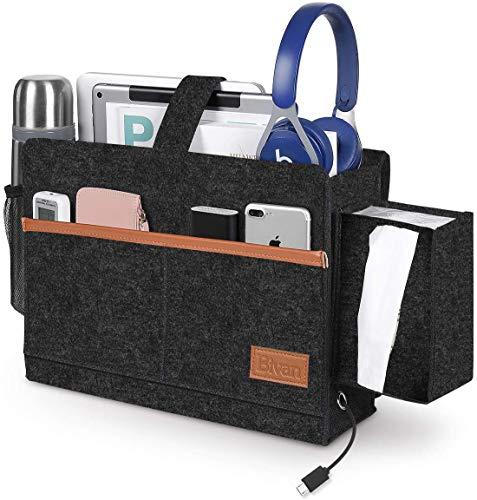 Bett Organizer Tasche Filz Bettablage mit Tücherbox und Flaschenhalter Anti-Rutsch Sofa Aufbewahrungstasche mit 6 Taschen für Buch, Zeitschriften, iPad, Handy, Fernbedienung (Dunkelgrau)