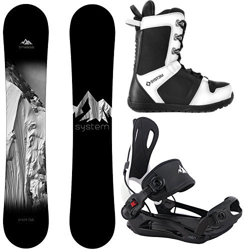 System Package Timeless Snowboard 163 cm Wide MTN Binding Large APX Snowboard Boots 11 2019