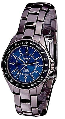 Herren Omax Armband Uhr Quarz Uhrwerk Metall Armband Silber schwarz