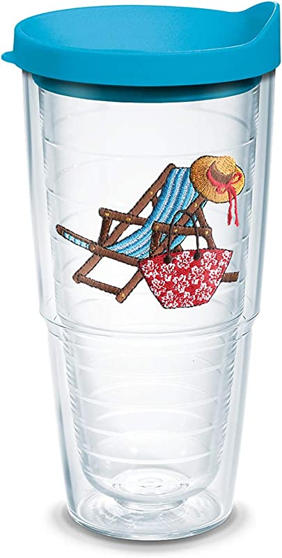 Tervis 1302120 Beach Chair Teal Insulated Tumbler With Emblem And Lid 24 Oz Clear