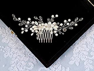 CanB Wedding Pearl Flower Hair Comb Bridal Crystal Headpieces Women's Hair Jewelry for Brides and Bridemaids