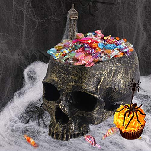 EveryMomentCounts Halloween Skull Candy Holder Bowl Artificial Resin Skull Head Skulls Decor Indoor Outdoor Flower Pot Plant Holder Office Pen Holder Desktop Ornaments - Bronze