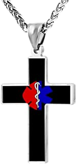 Fashion Police & Firefighter & EMT Flag Cross Necklace Zinc Alloy Pendant Creative Personalized Accessories Prayer Christian 24 Inch