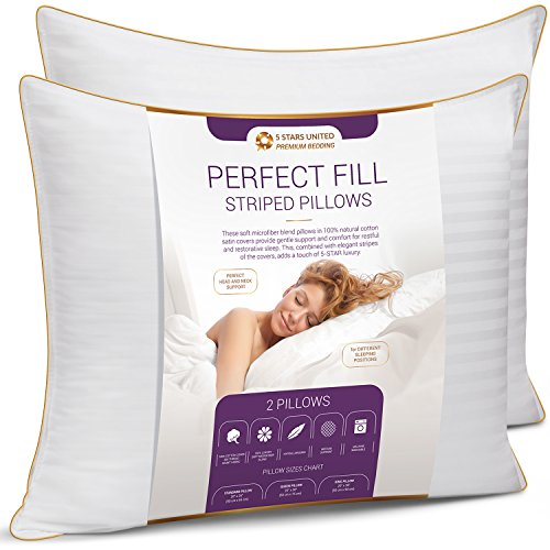 5 STARS UNITED Queen Size Pillows - Set of 2, 20x30, Super Soft Fiber Fill - Striped Satin Cotton Covers