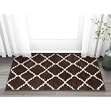 Harbor Trellis Brown Quatrefoil Geometric Modern Casual 2x4 ( 2'3  x 3'11  ) Easy to Clean Stain Fade Resistant Shed Free Contemporary Traditional Moroccan Lattice Soft Living Dining Room Rug