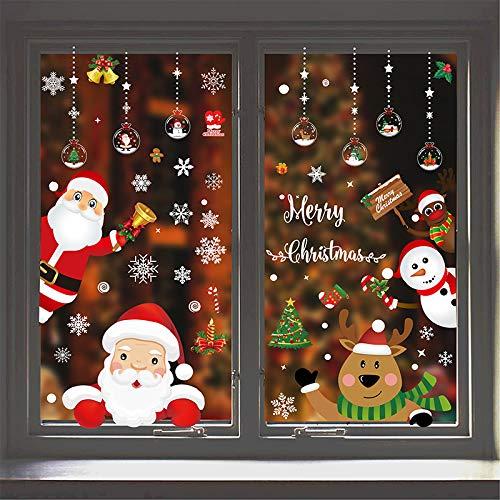 Kaishuai-Vinilos para puertas,vinilos para ventanas,decoracion navidad hogar,Copos de nieve,pegatinas,Papá Noel,Vinilos Navideños Pegatinas de Pared