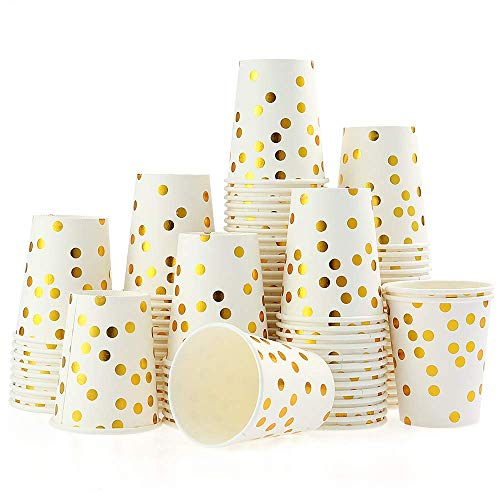 esonmus 100PCS Vaso de Papel Desechable, Disposable Cups 9 oz, Golden Polka Dot Disposable Beverage Cups, Apto para Bebidas Frías y Calientes