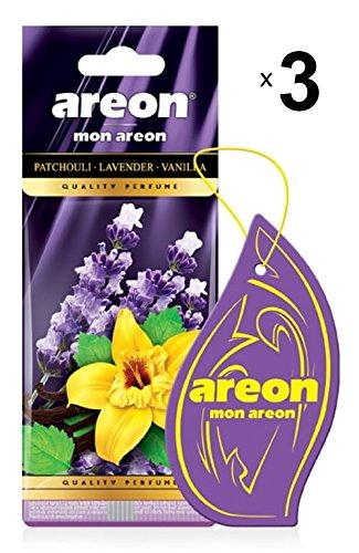 AREON Mon Auto Lufterfrischer Patchouli Lavendel Vanille Duft Autoduft Blume Anhänger Hängend Aufhängen Spiegel Violett Pappe 2D Wohnung (Patchouli Lavender Vanilla Set Pack x 3)