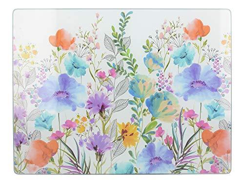 Creative Tops - Protezione per piano di lavoro, in vetro, con motivo floreale, 40 x 30 cm, multicolore