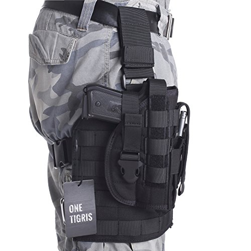 OneTigris 1000D Taktische Molle Beinplatform Beinplatte und Pistolenholster mit Magazintasche für Rechtsschützen 1911 45 92 96 Glock (Schwarz)