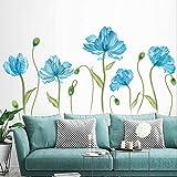 decalmile Pegatinas de Pared Tulipán Azul Vinilos Decorativos Flores de Jardín Adhesivos Pared Habitación Infantiles Dormitorio Salón