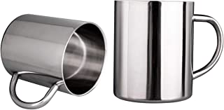 Nrpfell Tea Cup Stainless Steel Double Wall Mugs 400Ml(13.5Oz) for Drinking Tea Coffee Hot Soup Set of 2