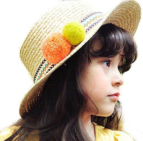 Demarkt Strohoed voor kinderen, zonnehoed, zomerhoed, meisjes, zonnehoed, kinderen, strandhoed