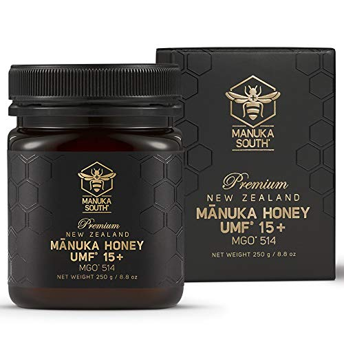 Mānuka Honey New Zealand – Authentic Non GMO Pure Raw Honey from Manuka South – Premium Quality Superfood – Certified UMF 15+/MGO 514+ (250g/8.8oz)