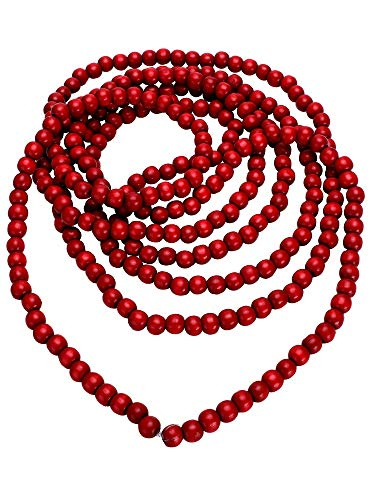 16 Feet Christmas Wood Bead Garland Wooden Bead Garland for Christmas Tree Holiday Decoration (Red)