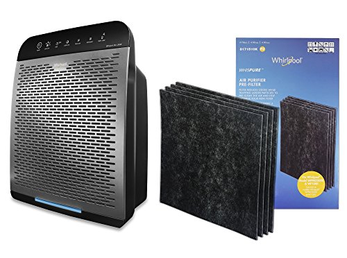 Whirlpool WPPRO 2000 & Genuine Activated Charcoal Filter Set - True HEPA Air Purifier - Odor Reducing Filter for Pets, Odor Remover for Smoke, Allergy - Doctor's Choice Air Cleaner, Large Room, Silver