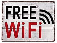 ブリキ看板 Wi-Fi プレート 横向き サインプレート ブリキプレート サインボード 木目調 WiFi ワイファイ 店舗用 看板 インテリア レトロ アメリカン 雑貨 アメリカン雑貨 (Aタイプ)