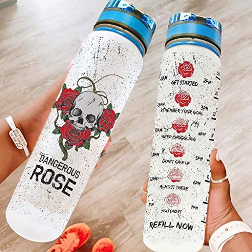 Ftcbrgifk Botella de agua deportiva de 1000 ml, con diseño de flores de rosa, a prueba de fugas, para yoga, con marcador de tiempo motivacional, color blanco, 1000 ml