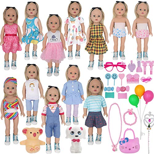 ZTWEDEN 42Pcs Doll Clothes and Swimming Accessories for 12 inch Boy and Girl Dol