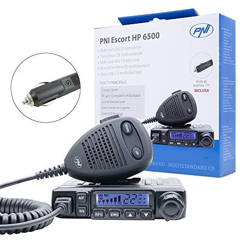 CB Radio PNI Escort HP 6500, Multistandard, 4 W, AM-FM, 12 V, ASQ, HF-Verstärkung, Zigarettenanzünderstecker enthalten