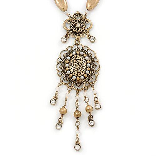 Filigraner Anhänger Oval Viktorianischer Stil Antik mit Perlen Kette goldfarben grob - 40 cm L/5 cm...