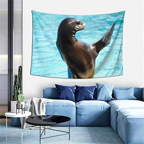 Lawenp Door Wall Tapestry Cute Ugly Sea Lion Animal Tapestry Wall Hangings Wall Hangings Decor 60x40 Inches(152x102cm) Wall Hanging Art Home for Living Room Bedroom