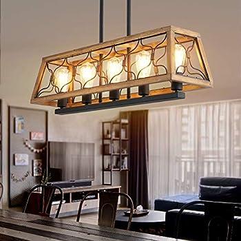 5-Light Kitchen Island Light Wood Chandelier Rectangle Farmhouse Dining Room Lighting Fixtures Hanging Rustic Linear Pendant Lighting Fixture