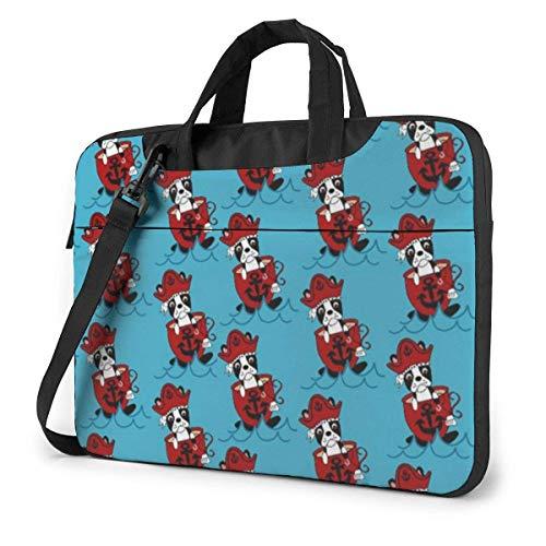 Boston Terrier Pirate Laptop-schoudertas 15,6 inch laptop messengerhoes met riem
