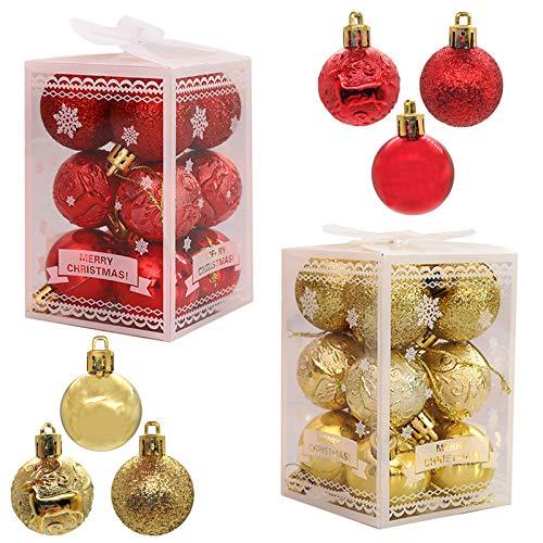 Ziyero 24 Piezas Inastillable Lujo Bolas De Navidad Brillar Brillante Bolas Navidad Decoración Navideña Set Ligero, para Navidad, Boda, Aniversario, Familia, Empresa, Centro Comercial Etc—Rojo+Dorado