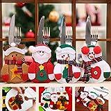 Sunshine smile Weihnachten Bestecktaschen,Geschirrhalter Besteckhalter Weihnachtsmann,Weihnachten Besteckhalter Bestecktasche,Weihnachtsmann Tischdeko,Weihnachten Dekoration Besteck(B, 12 PCS) - 4