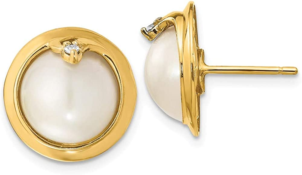 14k Yellow Gold 10 12mm Cultured Mabe Pearl Diamond Post Stud Earrings Ball Button Fine Jewelry For Women Gifts For Her