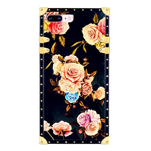 Funermei Flower Luxury Case for iPhone 7 Plus 8 Plus,3D Square Colorful Rose Floral Rivet Pattern Design Cute Slim Cover,Unique Women Girls Skin, Color Cases for iPhone 7Plus 8Plus 5.5'