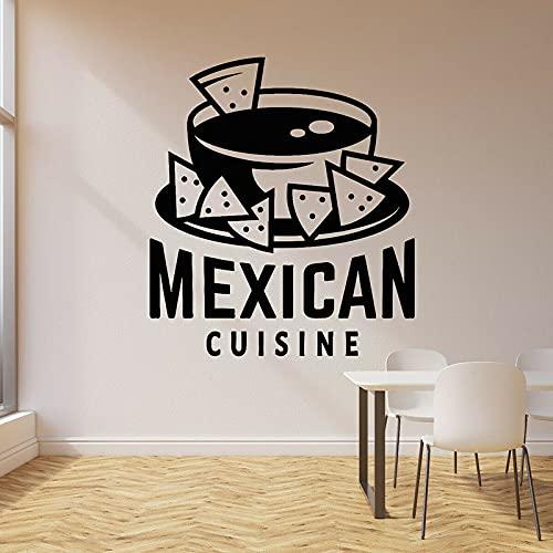 HGFDHG Calcomanías de Pared de Comida rápida Nachos de Cocina Mexicana Logotipo de Letras Puertas y Ventanas Pegatinas de Vinilo Restaurante Restaurante decoración de Interiores