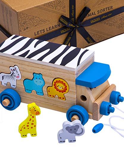 Jaques of London Tier-Formen-Sortierer | Spielzeug ab 1 2 3 4 5 Jahr | Baby Spielzeug | Montessori Spielzeug | Holzspielzeug 2 3 4 5 Jahre | Steckwürfel Holz ab 1 2 3 4 5 Jahr | Seit 1795