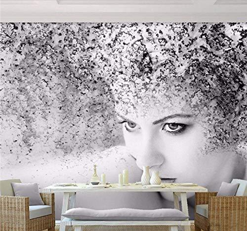 Ytdzsw Papier Photo Personnalisé De Luxe Qualité Hd Noir Blanc Beauté Artistique Abstrait Espace Fantaisie 3D Grand Papier Peint-400X280Cm