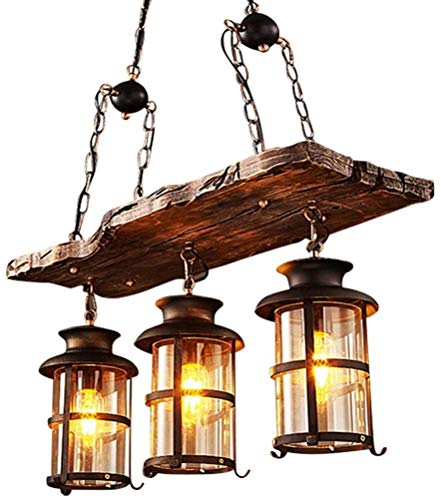 Dkdnjsk Lámpara colgante industrial de la vendimia, E27 * 3 lámpara colgante de madera retro, lámpara de colgante de loft antiguo creativo, lámpara de comedor de personalidad, lámpara de barra de vidr