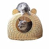 猫用 手編み 猫ハウス 猫ベッド 天然素材 無塗装 耐久性抜群 夏向け 風通し抜群 四季通用 筵 クッション付き 洗える お手入れ簡単 小屋 籠 小中型猫向け 軽い 爪とぎ対応可能 快適 ベージュ S