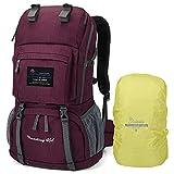 MOUNTAINTOP 40 litros Mochila de Senderismo, Impermeable Mochila Trekking al Aire Libre Mochilas de Montaña Viajes Acampadas con Cubierta de Lluvia(Púrpura Y Rojo)