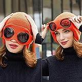 FREETT Sombrero Cálido Mujer Punto Gorra Calentar Transpirable con Orejeras y Gafas de Protección Sombrero de Aviador Invierno para Montañismo Caminar Correr Al Aire Libre, Talla 56-60 cm,Naranja